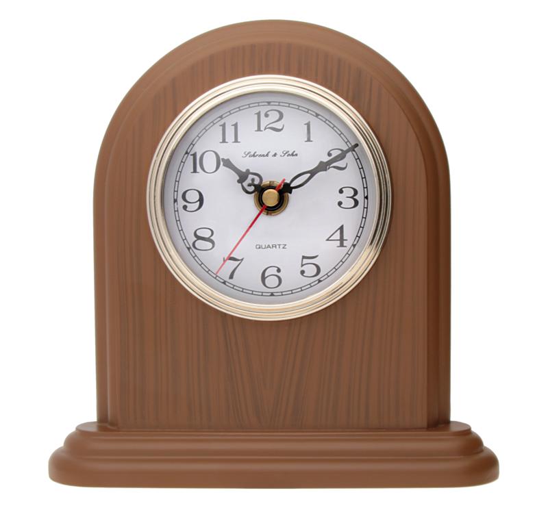 Luxusní hnědé stolní hodiny ASSO A15/102/4 (imitace dřeva)