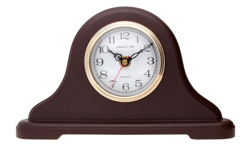 Luxusní hnědé stolní hodiny ASSO A15/103/3 (imitace dřeva)