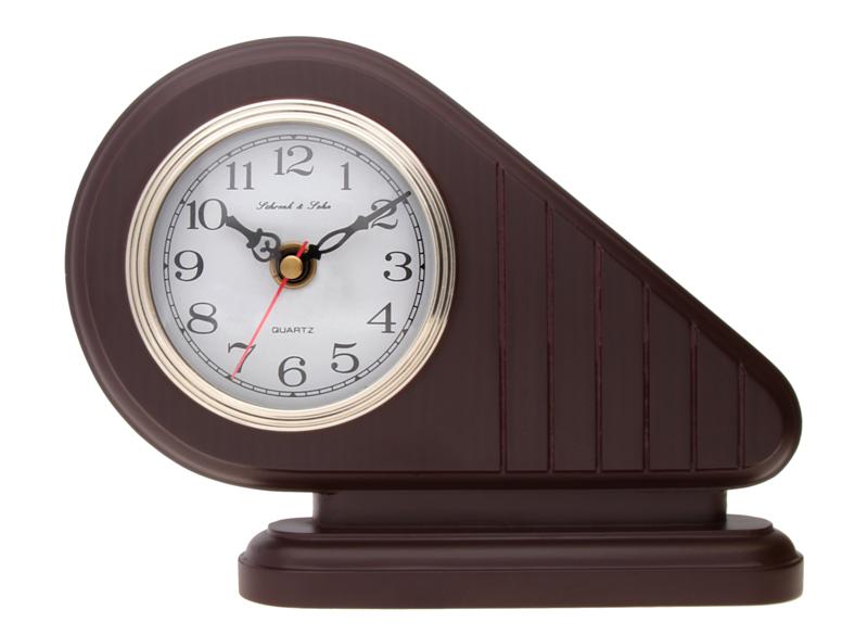 Luxusní hnědé stolní hodiny ASSO A15/104/3 (imitace dřeva)