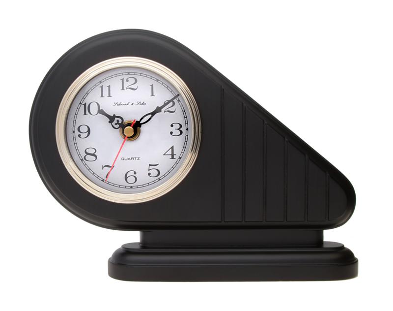 Luxusní černé stolní hodiny ASSO A15/104/14 (imitace dřeva)