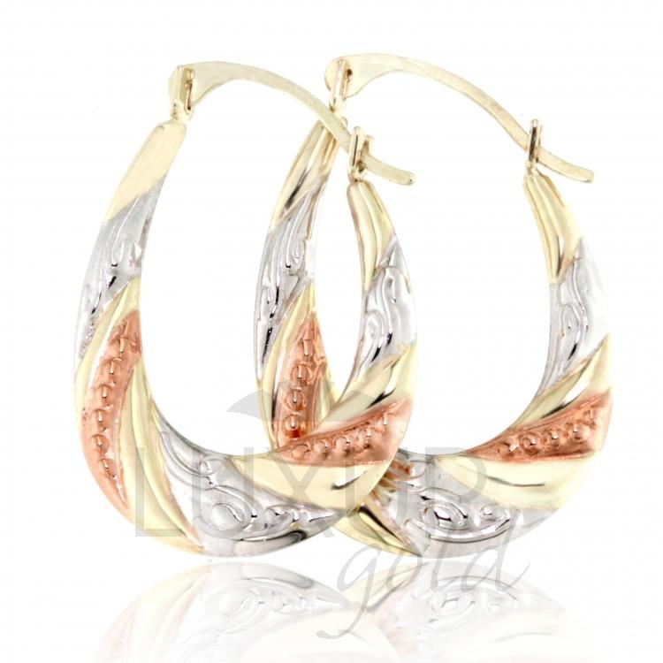 Luxusní zlaté náušnice v kombinaci zlata - zlaté kruhy 585/1,15gr 1930317 POŠTOVNÉ ZDARMA!! (1930317 - POŠTOVNÉ ZDARMA!!)