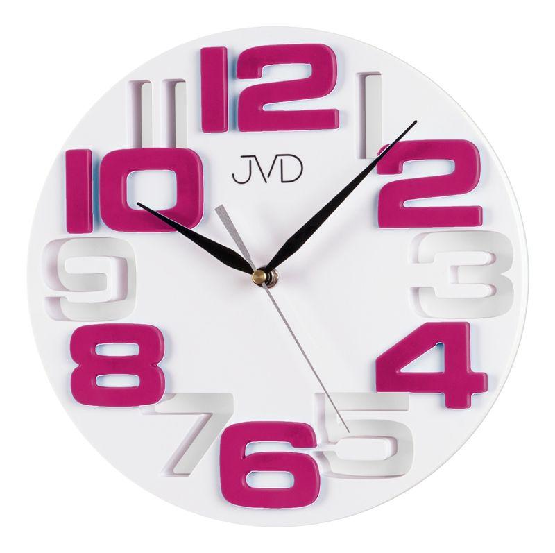 Fialkovo bílé designové nástěnné hodiny JVD H107.7
