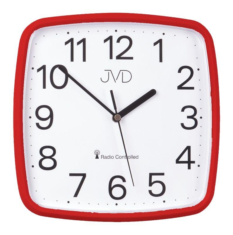Červené hranaté rádiem řízené levné hodiny JVD RH616.4