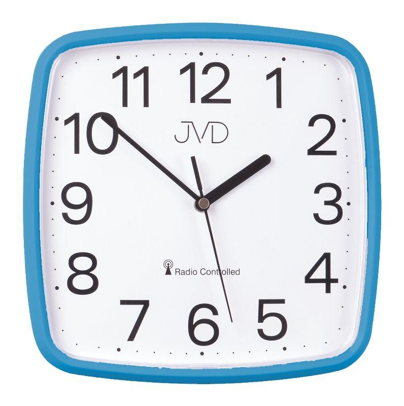 Modré hranaté rádiem řízené levné hodiny JVD RH616.5