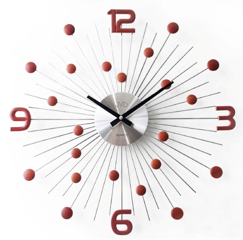 Luxusní moderní kovové hodiny JVD HT074.3 s červenými prvky POŠTOVNÉ ZDARMA!! (POŠTOVNÉ ZDARMA!!!)
