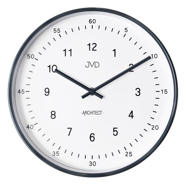 Kovové nástěnné černé hodiny JVD -Architect- HT080.2 (dva ciferníky)