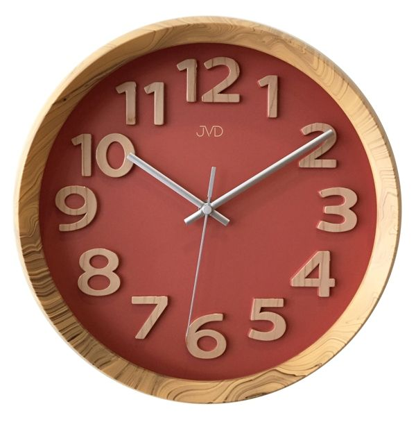 Nadčasové plastové nástěnné designové hodiny JVD HT073.1 v imitaci dřeva