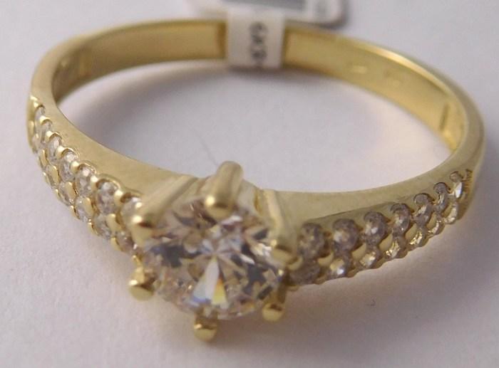 Zásnubní mohutný zlatý prsten se zirkony vel. 58 585/2,55gr 5210516 POŠTOVNÉ ZDARMA!!