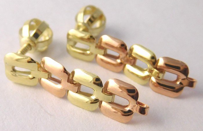 Visací zlaté náušnice z červeného a žlutého zlata na šroubek 585/1,05gr 231470044 (231470044)
