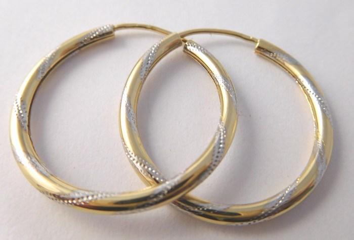 Velké gravírované zlaté kruhy z bílého a žlutého zlata 585/1,77gr pr.24mm H716 POŠTOVNÉ ZDARMA!!