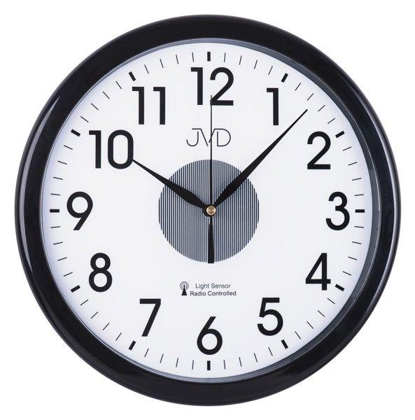 Rádiem řízené nástěnné hodiny JVD RH692.2 (černé hodiny se senzorem podsvícení)