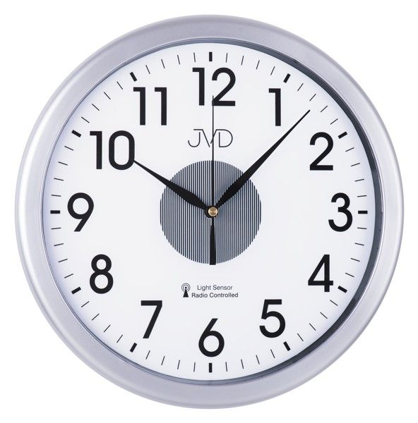Rádiem řízené nástěnné hodiny JVD RH692.3 (stříbrné hodiny se senzorem podsvícení)