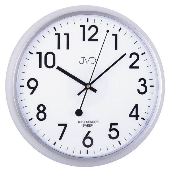 Plastové hodiny JVD sweep HP698.2 - stříbrné (netikající hodiny se senzorem podsvícení)