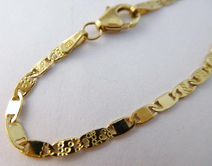 Pevný silný zlatý řetízek s gravírováním (žiletka) 585/4,85gr 50cm 3040170 POŠTOVNÉ ZDARMA!!