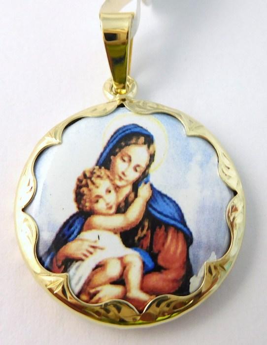 Luxusní zlatý přívěsek - zlatá madonka s dítětem - kulatá 585/3,47gr 3320044 (3320044 POŠTOVNÉ ZDARMA)