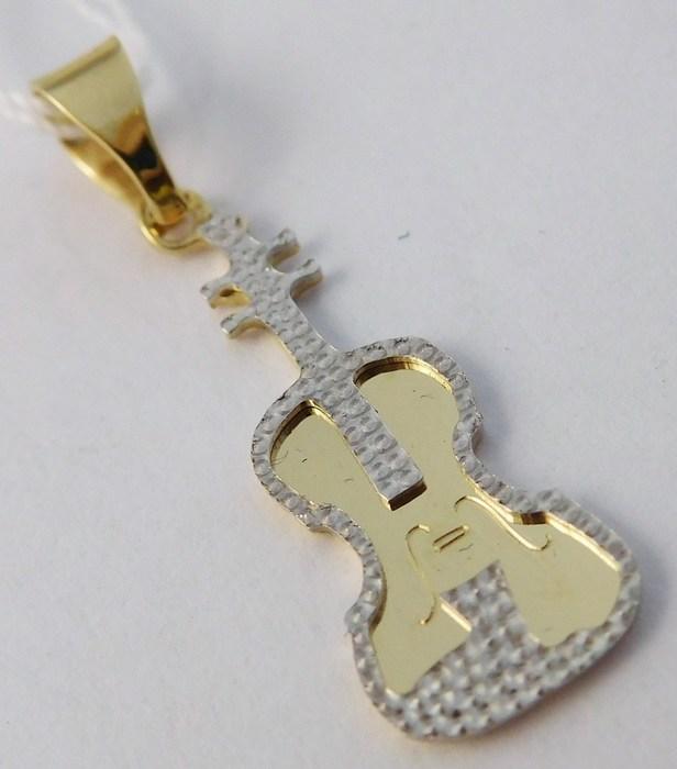 Zlatý přívěsek - gravírovaná zlatá kytara z bílého a žlutého AU 585/0,71gr H721