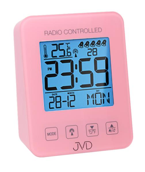 Růžový digitální rádiem řízený budík JVD RB38.2