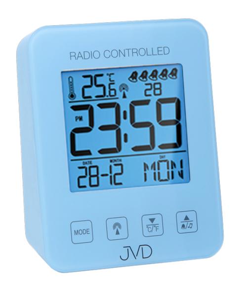 Modrý digitální rádiem řízený budík JVD RB38.3