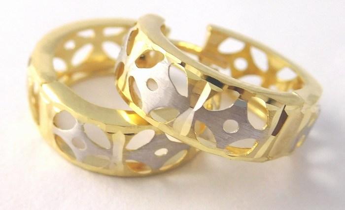 Dámské zlaté náušnice v kombinaci AU kruhy 585/1,65gr 1131822 (1131822)