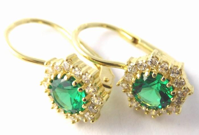 Zlaté náušnice se zirkony a zelenými smaragdy 585/2,4gr 3530199 POŠTOVNÉ ZDARMA
