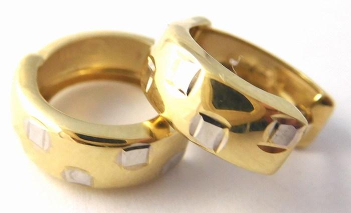 Dámské zlaté náušnice v kombinaci AU kruhy 585/1,05gr 1430863 (1430863)