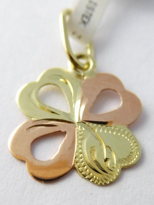 Zlatý přívěsek - čtyřlístek pro štěstí s gravírováním 585/0,45g 3220208 (3220208)