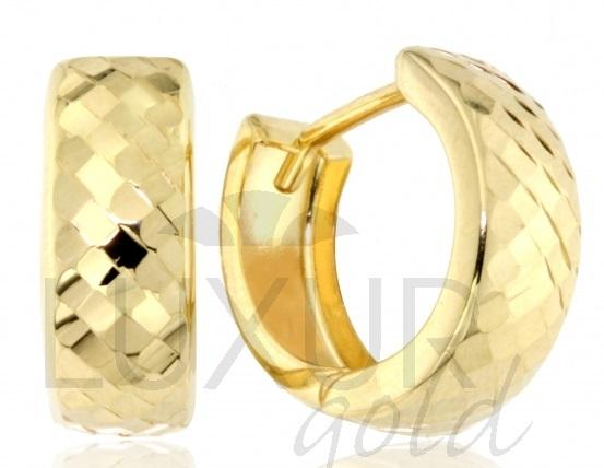 Gravírované zlaté dámské kruhy - náušnice 585/1,15gr 1430862 (1430862 - POŠTOVNÉ ZDARMA)