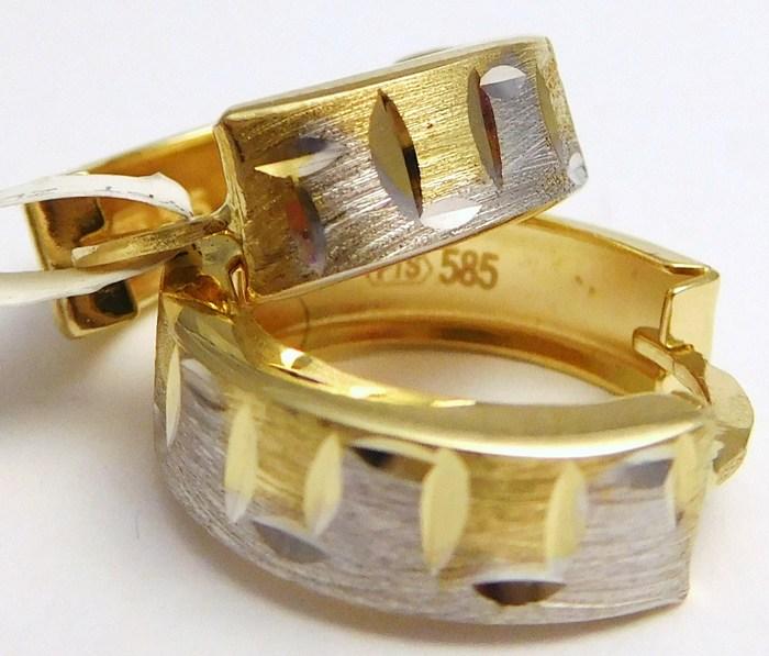 Zlaté náušnice z bílého a žlutého zlata s gravírováním 585/1,87gr 1231254 (1231254 - POŠTOVNÉ ZDARMA)