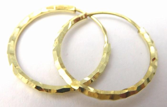 Gravírované zlaté kruhy - náušnice průměr 16mm 585/0,67gr 2333058 (2333058)