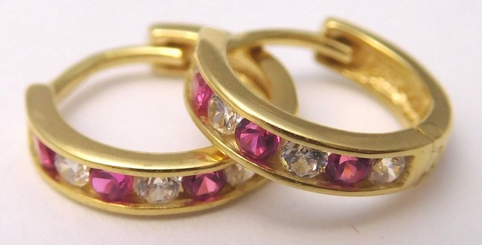 Zlaté náušnice - kruhy se zirkony a rubíny (dívčí) 585/1,25gr 1131195