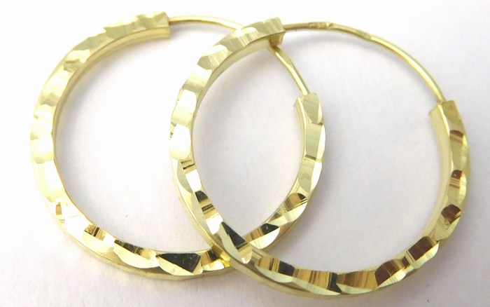 Gravírované zlaté kruhy - náušnice průměr 16mm 585/0,65gr 2333048 (2333048)