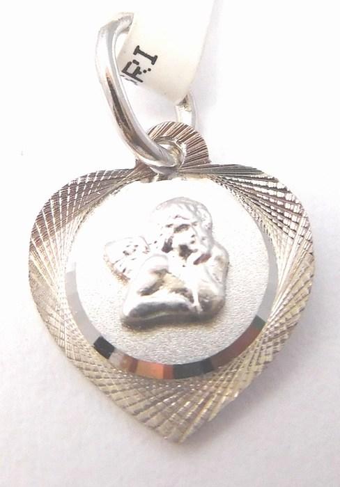 Zlatý medailonek - zlatý andělíček v srdíčku 585/0,70gr 2370199