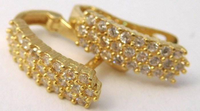 Dámské zlaté náušnice poseté mnoha zirkony 585/1,60gr 1231136 (1231136 - POŠTOVNÉ ZDARMA)