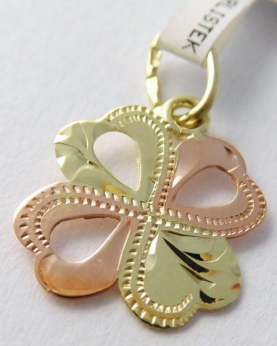 Zlatý přívěsek - čtyřlístek pro štěstí s gravírováním 585/0,45g 3220207 (3220207)