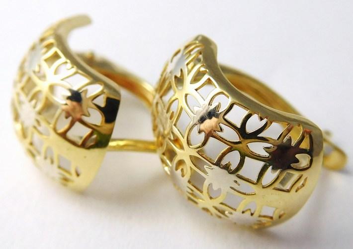 Mohutné zlaté gravírované kruhy - náušnice 585/1,75gr 1131887 (1131887 - DOPRAVA ZDARMA)