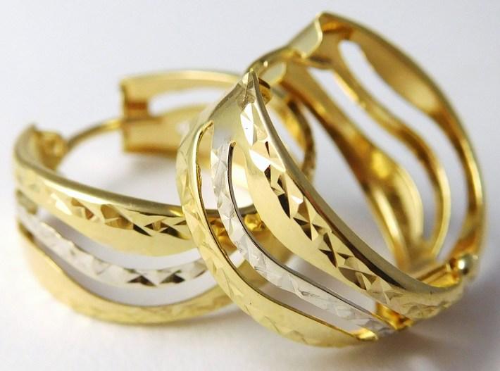 Zlaté gravírované mohutné kruhy z dvojího zlata 585/1,92gr 1131490 (1131490 - DOPRAVA ZDARMA)