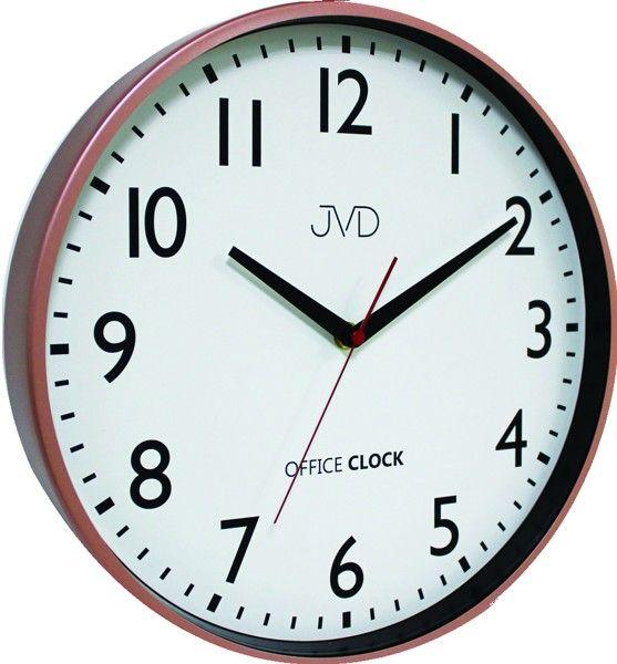 Kovové hodiny JVD TS20.3 (cihlově červené hodiny Office Clock - POŠTOVNÉ ZDARMA)