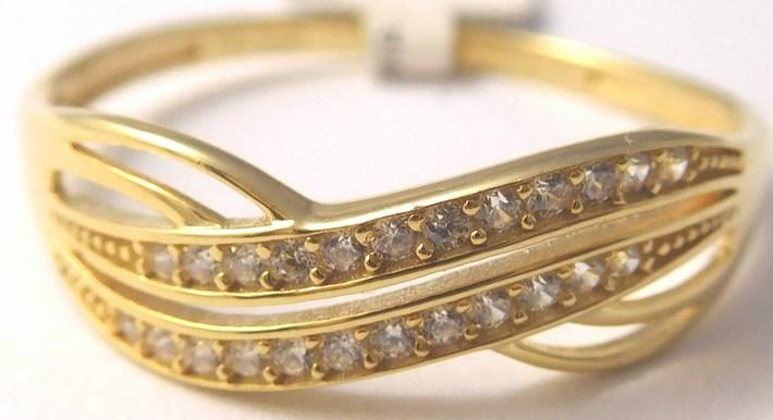 Zlatý prstýnek posetý mnoha zirkony 585/1,50gr vel. 58 1211361