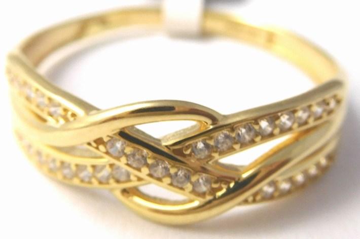 Mohutný zlatý prsten se zirkony vel. 63 585/1,95gr 1211341 POŠTOVNÉ ZDARMA