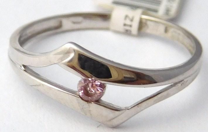 Zásnubní zlatý prsten z bílého zlata s růženínem 585/1,05gr vel. 51 1161144