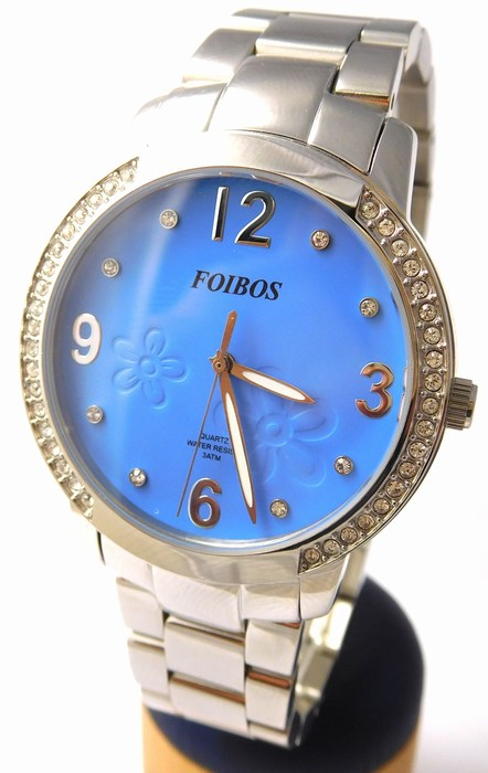Dámské šperkové stříbrné hodinky s kamínky po obvodu Foibos 25963 (modrý čís.) (POŠTOVNÉ ZDARMA!!!!)