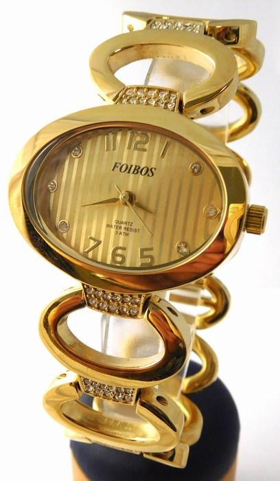Dámské šperkové zlacené hodinky s kamínky na pásku Foibos 24222 (POŠTOVNÉ ZDARMA!!!!)
