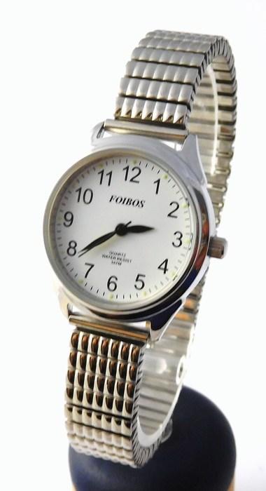 Dámské stříbrné čitelné hodinky Foibos 3700 s pérovacím páskem ... 194f55a21c