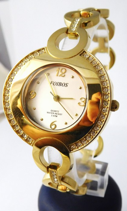 Šperkové dámské hodinky s kamínky po obvodu Foibos 24722 - zlaté (POŠTOVNÉ  ZDARMA! 808996064cc