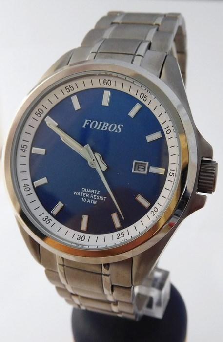 Pánské celotitanové antialergické vodotěsné hodinky Foibos 25503 (POŠTOVNÉ ZDARMA!!!! - odlehčené hodinky, modrý číselník)