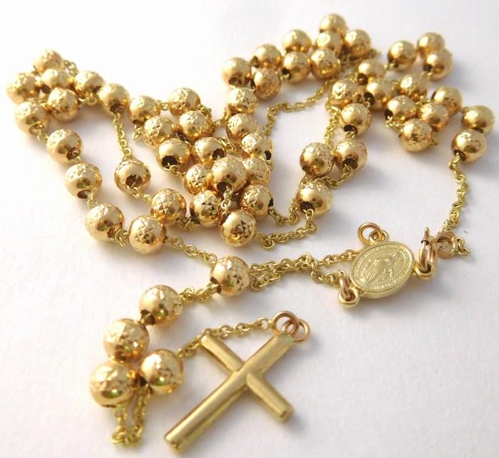 Luxusní mohutný zlatý růženec - prodloužený řetízek 50cm+10cm 585/7,53gr H734