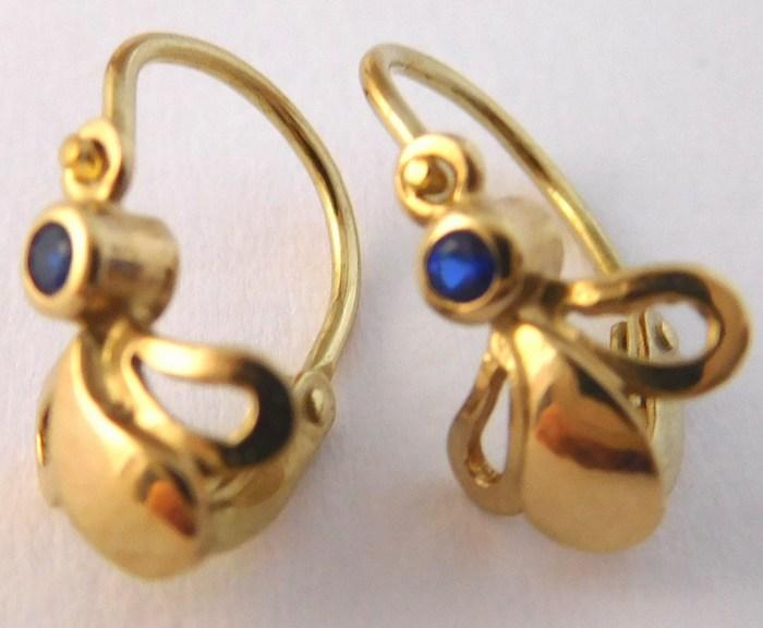 Dětské zlaté náušnice s modrými safíry 585/0,87gr 5331038 - DOPRAVA ZDARMA