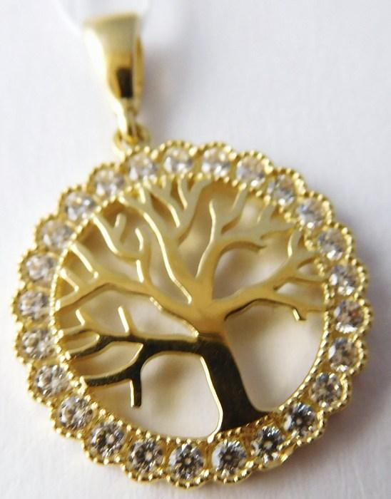 Zlatý přívěsek - zlatý strom života posetý zirkony 585/1,73g H747 s gravírováním (POŠTOVNÉ ZDARMA!!)