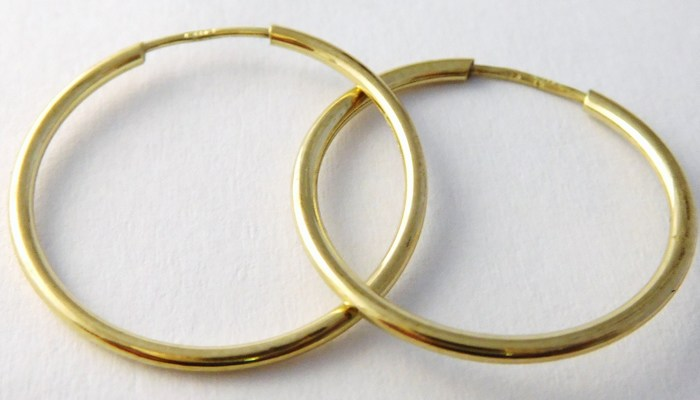 Zlaté dámské kruhy - zlaté náušnice průměr 21mm 585/0,55gr T219