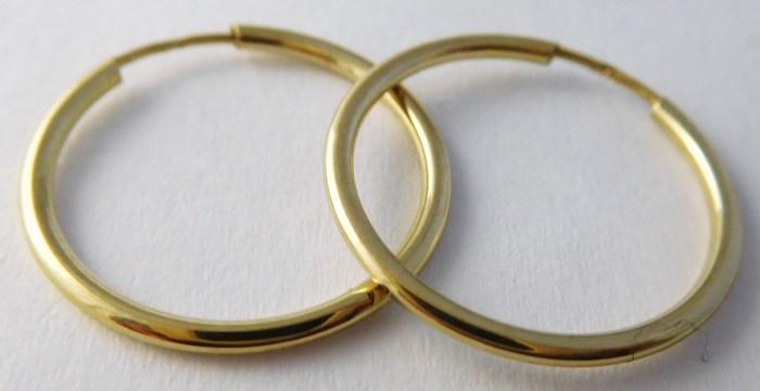 Zlaté dámské kruhy - zlaté náušnice průměr 18mm 585/0,50gr T220